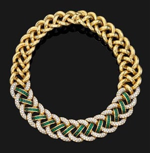 Gold Diamond and Emerald necklace
