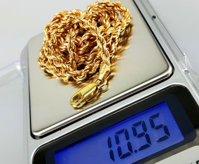 jewelry scale used to weigh 14k gold chain